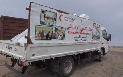 الهلال الأحمر الإماراتي يقدم قافلة مساعدات غذائية جديدة إلى التحيتا بالساحل الغربي