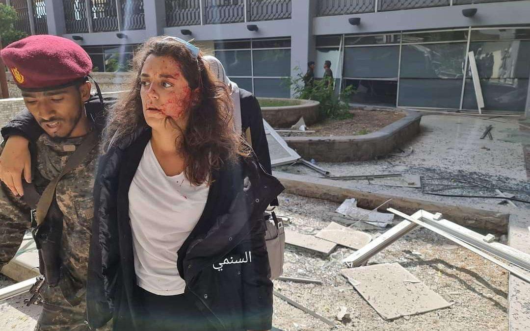 المتحدثة باسم الصليب الأحمر في اليمن تكتب عن إصابتها في مطار عدن من غرفة عمليتها الرابعة